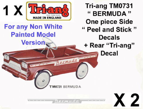"Set decals "" Peel & stick "" & Rear decals for Tri-ang Triang TM073 BERMUDA Pedal Car"